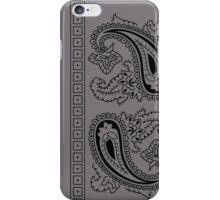 Gray and Black Paisley Bandana  iPhone Case/Skin