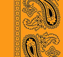 Orange and Black Paisley Bandana   by ShowYourPRIDE
