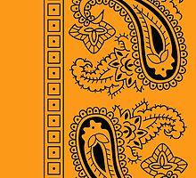 Orange and Black Paisley Bandana   by ShowYourPRIDE