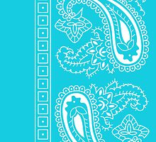 Teal and White Paisley Bandana   by ShowYourPRIDE