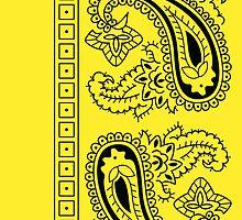 Yellow and Black Paisley Bandana   by ShowYourPRIDE