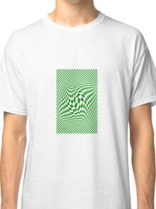 Check Swirl - Green & White Classic T-Shirt