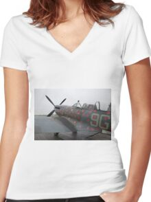 Spitfire TR9 MJ627 adorned with Poppies in a flying tribute to all those who died or suffered during two World Wars Women's Fitted V-Neck T-Shirt