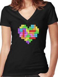Tetris heart Women's Fitted V-Neck T-Shirt