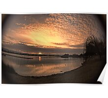 Setting sun in fisheye Poster