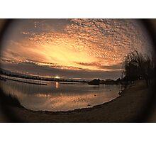 Setting sun in fisheye Photographic Print
