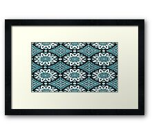 White and Blue Lace over Black Framed Print