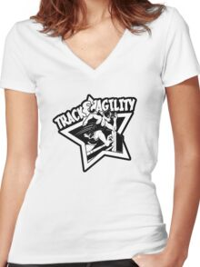 Track & Agility (Black/White) (Sticker version) Women's Fitted V-Neck T-Shirt