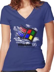 WINDOWS 95 Women's Fitted V-Neck T-Shirt