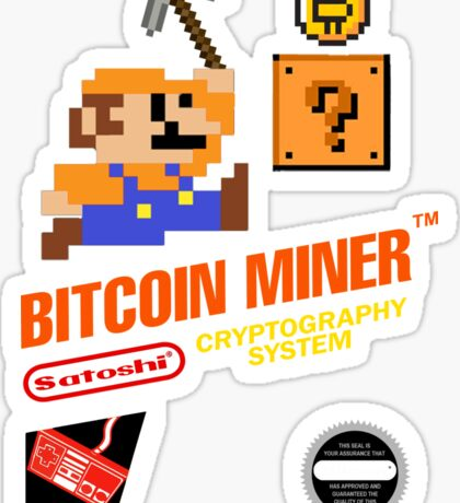 Bitcoin Geek Nintendo Gaming Funny Mario Mashup  Sticker