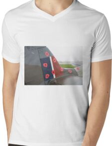 Spitfire TR9 MJ627 adorned with Poppies in a flying tribute to all those who died or suffered during two World Wars Mens V-Neck T-Shirt