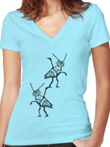 balancing crickets Women's Fitted V-Neck T-Shirt