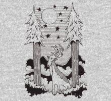 Lone Deer Under Starry Night One Piece - Long Sleeve