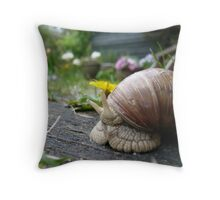 Snail and yellow flower Throw Pillow
