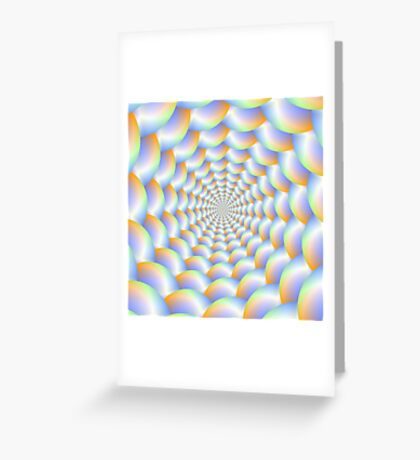 Spiral Tunnel in Blue Orange and Green Greeting Card