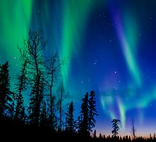 May Auroras....and Sunset Light by peaceofthenorth