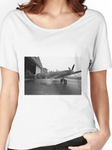 Spitfire TR9 MJ627 adorned with Poppies in a flying tribute to all those who died or suffered during two World Wars Women's Relaxed Fit T-Shirt