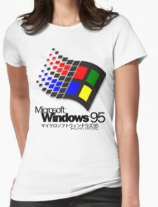 WINDOWS 95 WHITE Womens Fitted T-Shirt