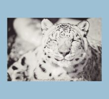 Black and White Snow Leopard Kids Tee
