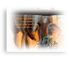Boys and Horse Sence  Canvas Print