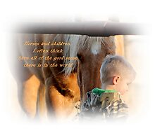 Boys and Horse Sence  Photographic Print