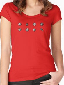 Pokemon Badges Original - Red and Blue Women's Fitted Scoop T-Shirt