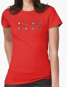 Pokemon Badges Original - Red and Blue Womens Fitted T-Shirt