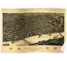 Panoramic Maps Perspective map of the city of Little Rock Ark State capital of Arkansas Poster