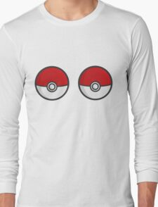 POKEBOOBS - Ladies Pokeball Shirt Long Sleeve T-Shirt