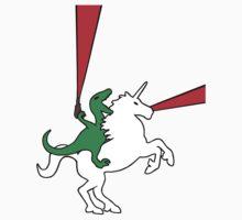 Dinosaur Riding Unicorn Kids Tee