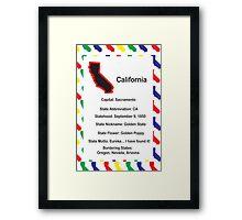 California Information Educational Poster Framed Print