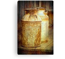 Creamery Cans in 1880 Town No 3098 Canvas Print