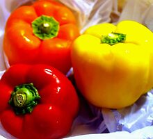 Bell peppers on bag by ♥⊱ B. Randi Bailey