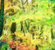 Fall Tree Line - Green/Yellow Sticker
