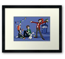 The Doctor is Late: Happy Holiday Greetings! Framed Print
