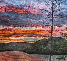 Watauga Lake Sunset Panorama (Painting) by Tom Culver