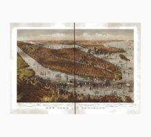 Panoramic Maps New York and Brooklyn Kids Tee