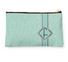 1920s Blue Deco Swing with Monogram letter F Studio Pouch