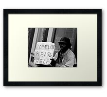 Homeless on the Street Framed Print