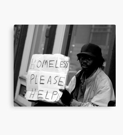 Homeless on the Street Canvas Print