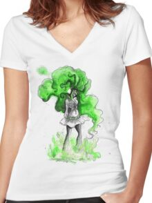 Rainbow Punk: Malachite Bassdrop Women's Fitted V-Neck T-Shirt