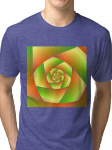 Spiral in Yellow Orange and Green Tri-blend T-Shirt