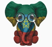 Baby Elephant with Glasses and Ethiopian Flag Baby Tee