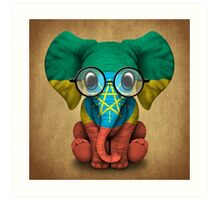 Baby Elephant with Glasses and Ethiopian Flag Art Print