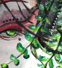 Geisha in Leaves: The Sentimental Concubine Sticker