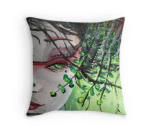 Geisha in Leaves: The Sentimental Concubine Throw Pillow