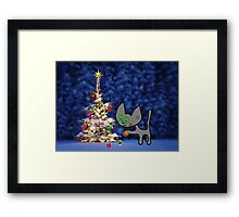 Kitten Sets Up Christmas Tree Framed Print