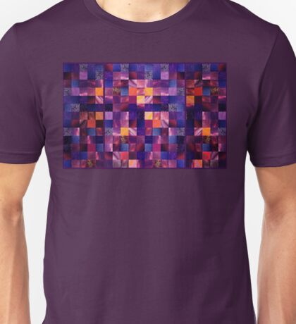 Abstract Squares Triptych Gentle Purple Unisex T-Shirt