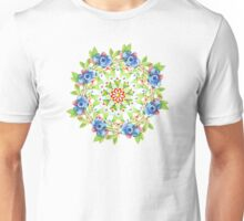 Maine Blueberry Gingham Mandala Unisex T-Shirt