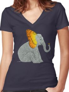 Elephant and Butterfly Women's Fitted V-Neck T-Shirt